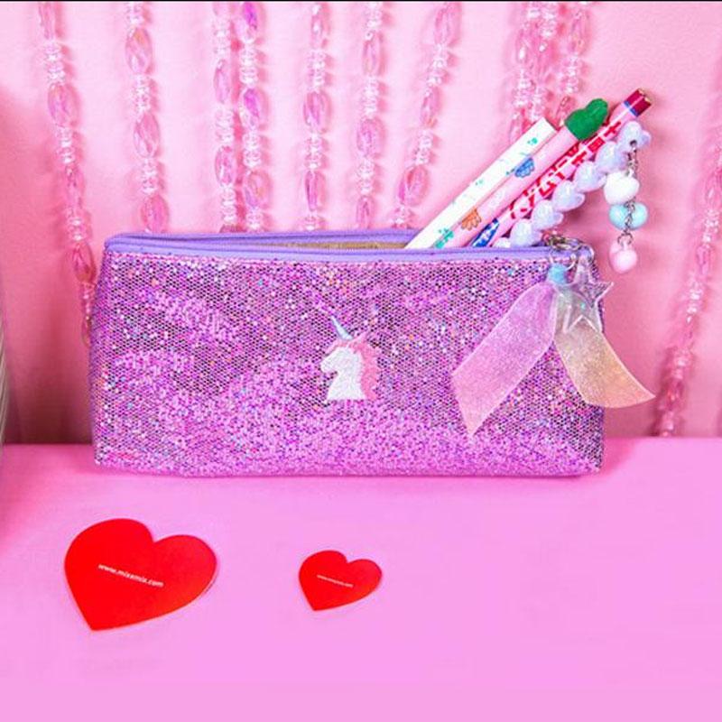 Kawaii Unicorn Pencil Case Pencil Box Pegasus Shell Heart Cosmetic Bag for Teenager Girls Stationery Pen Bag School Supplies