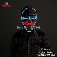 2017 New Sound Activated national flag Clown Mask LED Neon light EL wire Glowing For dance DJ Carnival Trendy Party Decoration