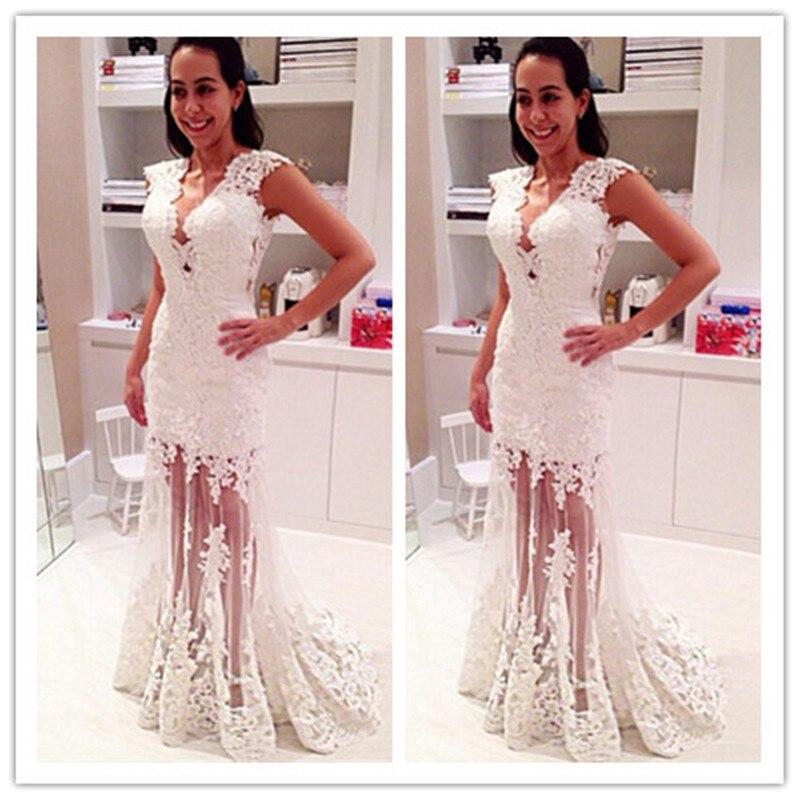 MANSA 2015 chaude Sexy dentelle blanche robe de bal longue col en V Appliques robe de soirée robes de bal longue meramide robes de bal sur mesure