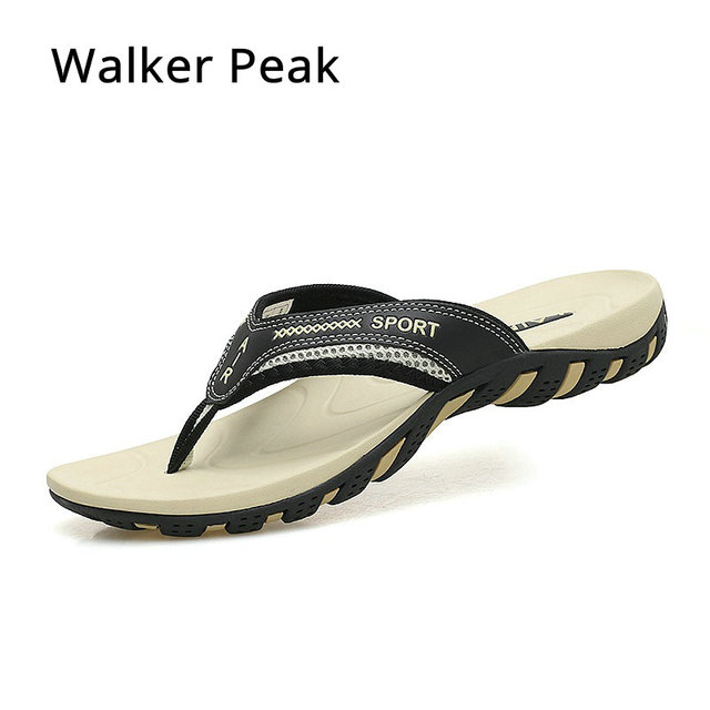 5cf292b10dbb Walker Peak 2018 Summer Fashion Men s flip flops Beach Sandals Men outdoor  Flat Slippers non-slip Shoes size 45 Sandals pantufa