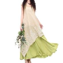 EaseHut Boho Beach Plus Size Summer Dress 2019 2 Layer Short Sleeve Cotton Linen Maxi Long Embroidery Floral Dress Women Elegant