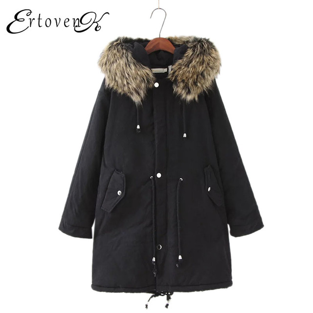 6c88b9fd18d Big Collar Winter Jacket Plus size Women Coat 2017 Thicker warm Cotton  Zipper parkas button Hooded Female Loose Outerwear C166