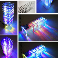 LEORY Audio RC Spectrum DAC 13 PCS Crystal Board 3D LED Light Cube Kit LED Music