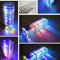 LEORY Audio RC Spectrum DAC 13 PCS Crystal Board 3D LED Light Cube Kit LED Music