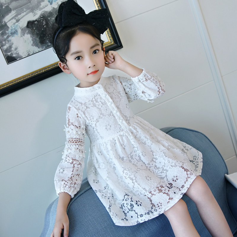 2018 Girls Long Sleeve Lace Dress Back To School Outfits Dress Little Big Girls Clothing Toddler Girls Dresses Children Clothes