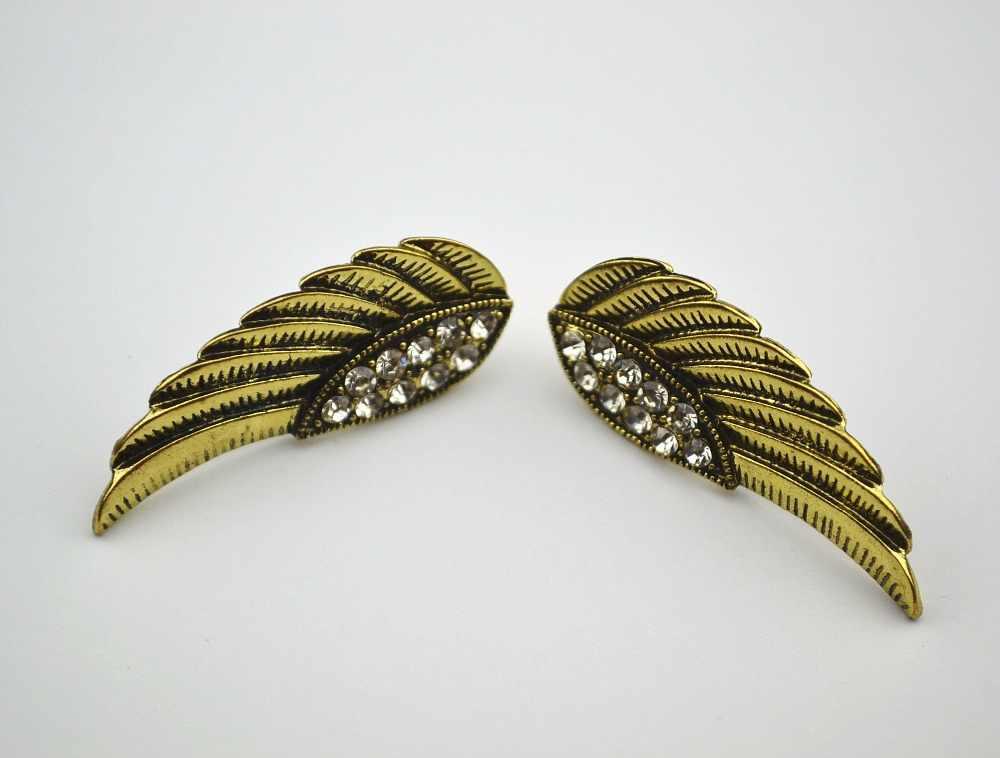 YaYi Putih Kaca Berlian Imitasi Wing Earring perempuan Fashion baru Perak Kuno Anting permata Anting Untuk Wanita Grils