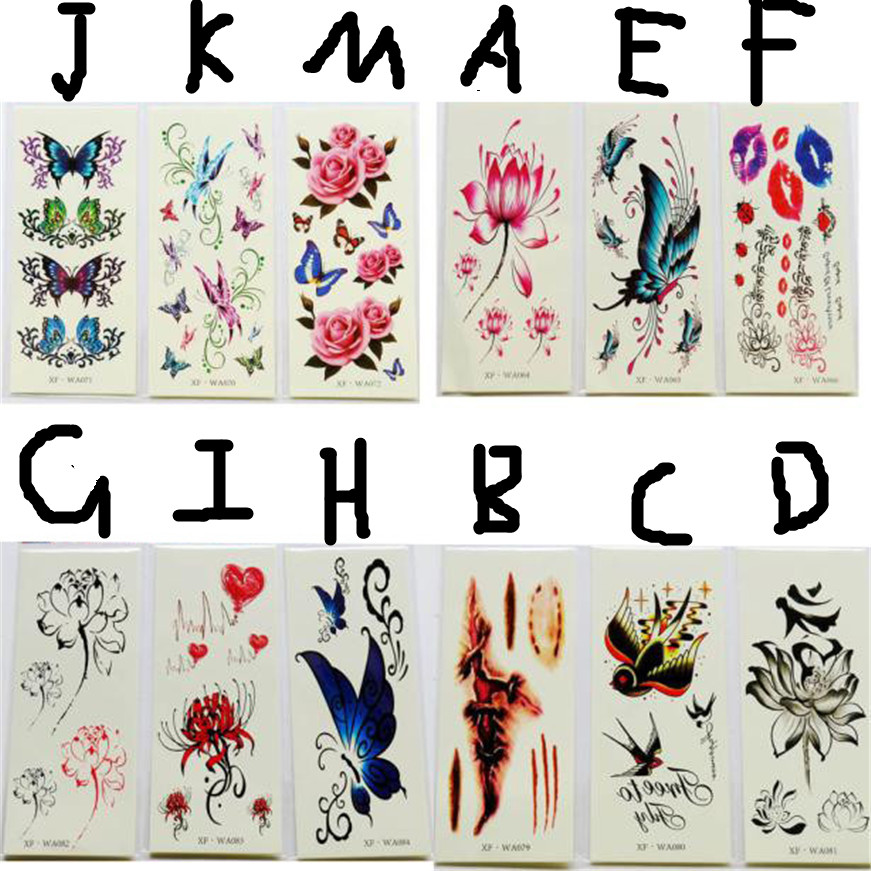 2017 Tatoo Waterproof Temporary Tattoos 3D Butterfly Flower Fake Tattoos Sticker Tattoo