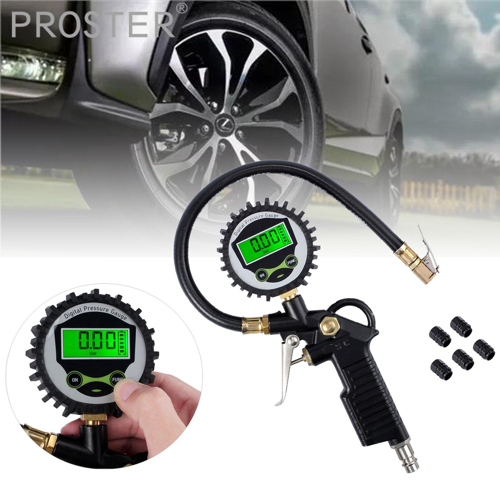 Proster For Digital Tire Pressure Gauge Tire Inflator Gauge 200 PSI With 5 Black Valve Caps Vehicle Tester Inflation Monitoring
