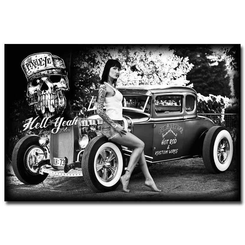 هوت رود العضلات سيارة الفن الحرير النسيج المشارك طباعة الكلاسيكية سيارة الساخن نموذج الفتيات الصور لغرفة المعيشة ديكور الأسود الأبيض 026