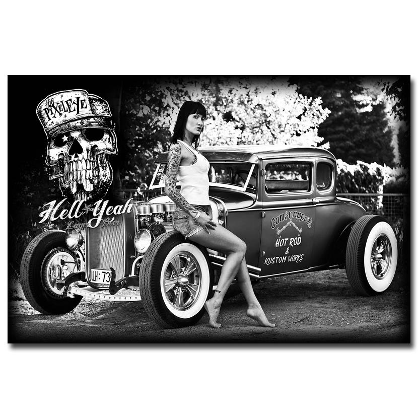 Hot rod muscle car art silk fabric poster print classic car hot model girls pictures for living room decor black white 026 in painting calligraphy from