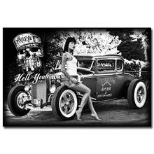 Hot Rod Muscle Car Art Silk Fabric Poster Print Clic Model S Pictures For Living Room Decor Black White 026
