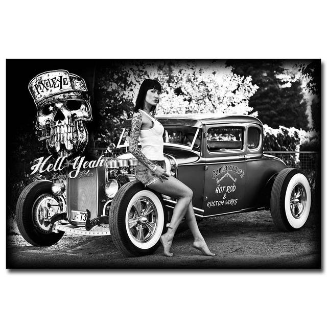 Rod Muscle Car Art Silk Fabric Poster Print Pictures Living Room Black White 026