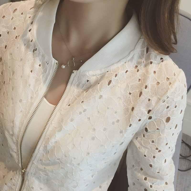 Damskie letnie cienka kurtka koronki z długim rękawem ochrony przeciwsłonecznej kobiet odzież Hollow Out oddychająca kurtka Bomber biała