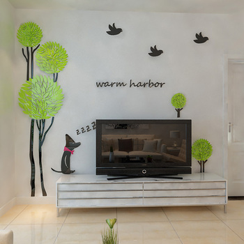 New arrival 3d Tree birds dog crystal Acrylic wall stickers Sofa wall home decoration Wall stickers Home DIY art wall decor