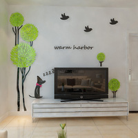 New arrival 3d Tree birds dog crystal acrylic three dimensional wall stickers Sofa wall home decoration Wall stickers biggest