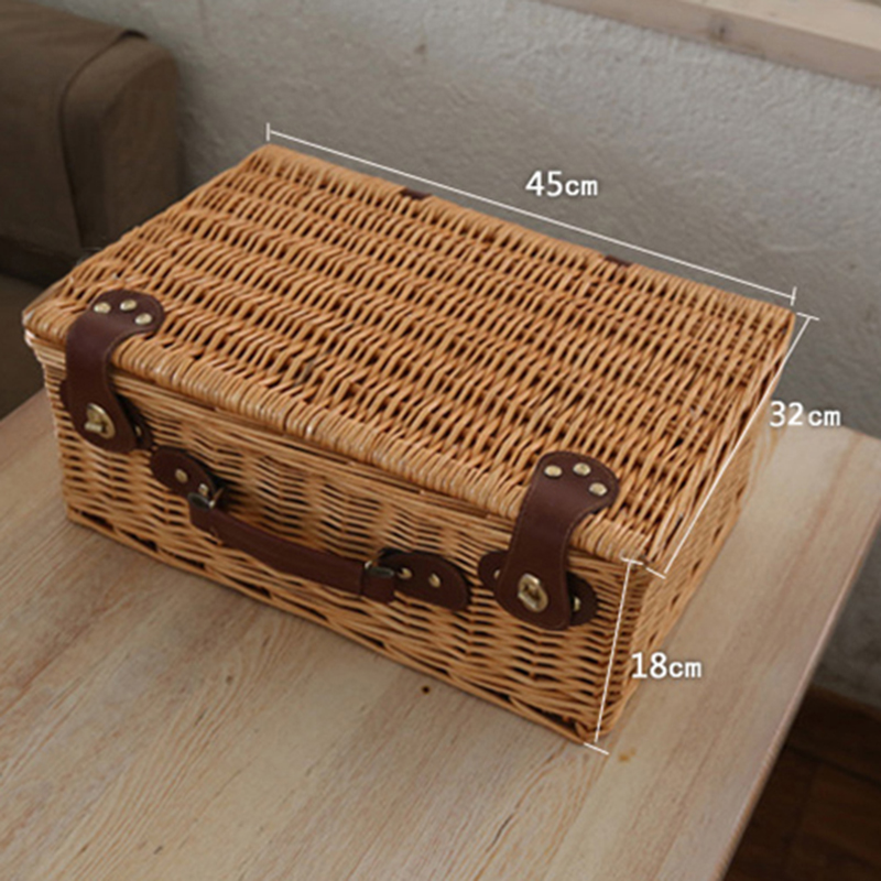 Wicker Basket Wicker Camping Picnic Basket Outdoor Willow Picnic Baskets Handmade Picnic Basket Set for 4 Persons Picnic Party-2