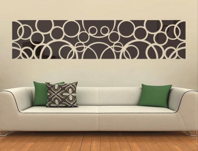 Diy Lingkaran Besar Dari Kristal Cermin Dinding Stiker Sofa Tv Akrilik Tiga Dimensi Abstrak