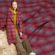 Pearlsilk Red Plaid Yarn Dyed Wollen Wool and Polyester garment materials Autumn Jacket Coat DIY clothes fabrics