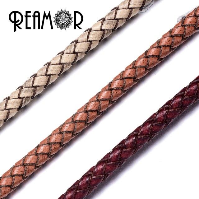 fe8a52198274 REAMOR 6mm redondo genuino trenzado cuerda de cuero cuerda para hacer  joyería DIY pulsera collar artesanal