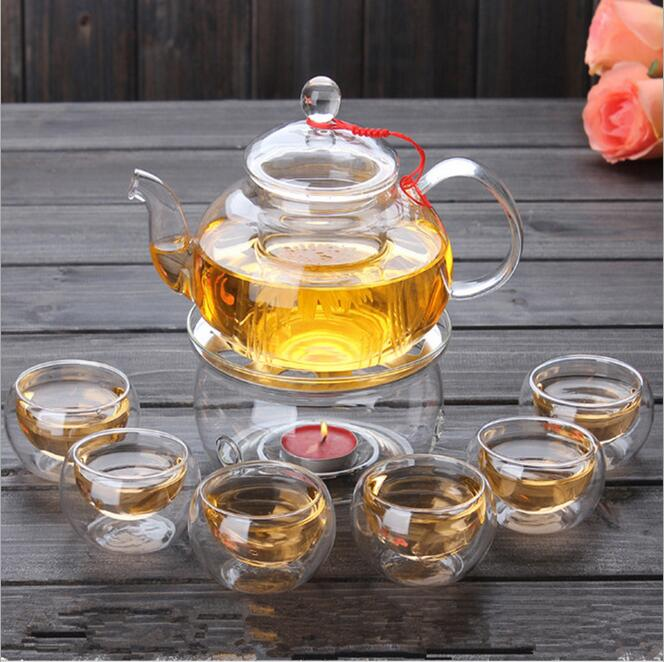 1 Set Gaiwan Tea Set Dengan 6 Piala 600 ml Kaca Tea pot Hot Dinding Ganda Buatan China Hadiah ketel
