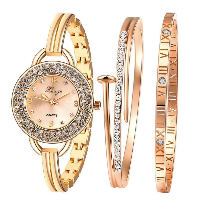 Luxury Women Gold Rhinestone Bangle Ladies Dress Watch And Bracelet Set 409R  Bracelet Vintage Gift  relogio feminino #70 spring big sale brand bs luxury 14k gold diamond women watch lady gold siliver dress watch rhinestone bangle bracelet