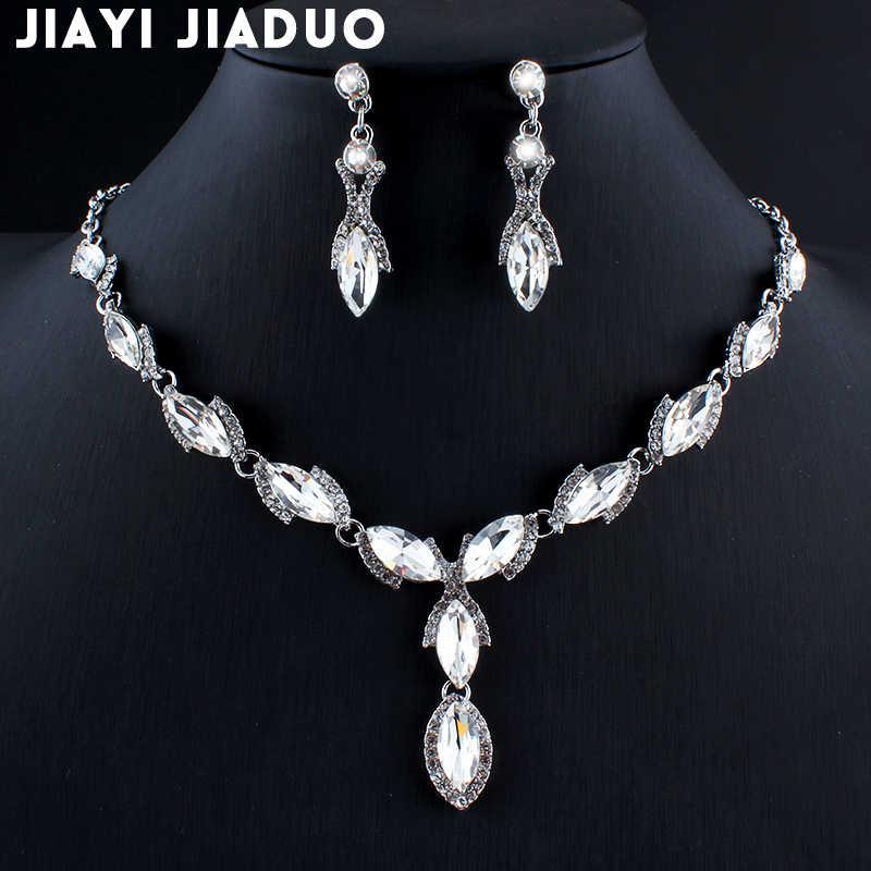 Jiayijiaduo สร้อยคอต่างหูชุดเครื่องประดับสำหรับผู้หญิงชุดเครื่องประดับอุปกรณ์เสริม 4 สีของขวัญ Dropshipping Bijoux Pour Femme