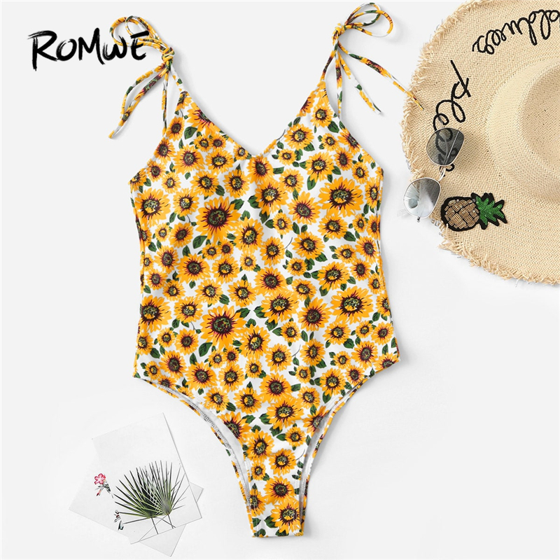 Romwe One-Piece Swimsuit Monokinis Sunflower Floral Backless Shoulder Sport Beach Women