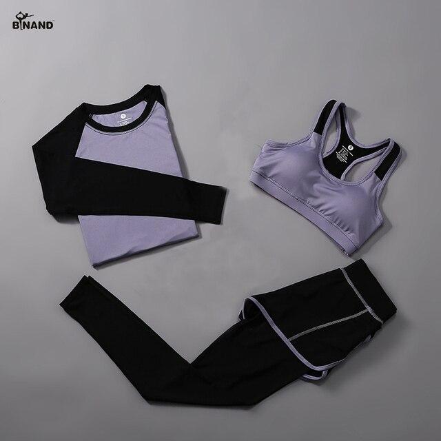 BINAND 3 pieces נשים כושר יוגה חליפת חולצה & חזיית ספורט ספורט מכנסיים יוגה סט כושר בגדי מהיר יבש אימון ספורט