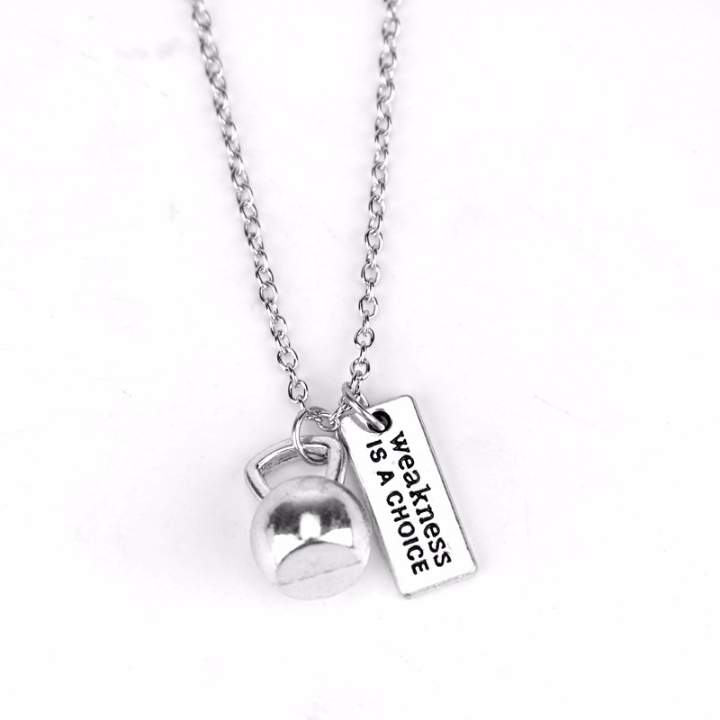 Strength is a Choice Weightlifting Dumbbell Kettlebell Necklace silver tone