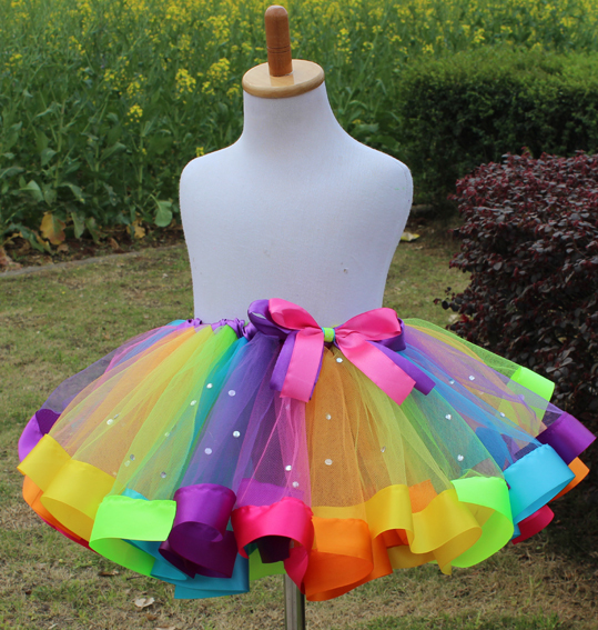 tutu rainbow fluffy tulle kids children girl skirt toddler baby mini costume ball gown party ballet dance wedding pettiskirt