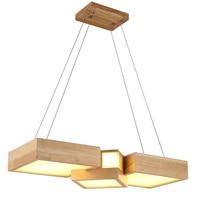 Современные деревянные подвесные светильники Lamparas Квадратный Блок абажур из акрила светильник Обеденная светильники, Подвесная лампа для