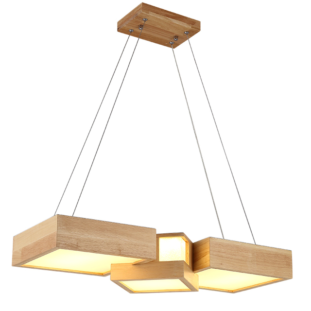 Modern Wood Pendant Lights Lamparas Square Block Acrylic Lamp Shade Luminaire Dining Room