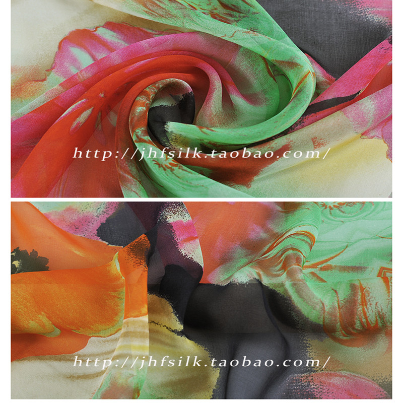 SASKIA 1Meter Thin100 Pure Natural Mulberry Silk Chiffon Printed Flower Fabric Material Sew On Cloth Dress Scarf 6M M Blue Green in Fabric from Home Garden