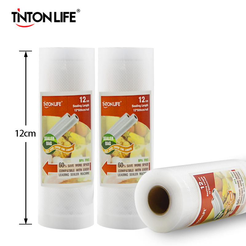 TINTON LIFE 12cmx500cm/Roll Vacuum Sealer Food Saver Bag Food Storage Bags Saran Wrap