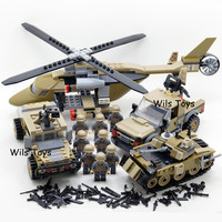 4 In 1 World War 2 Tank Car Helicopter Soldiers Military SWAT Army Model Building Blocks Figures Set Educational Toys Boys Gifts