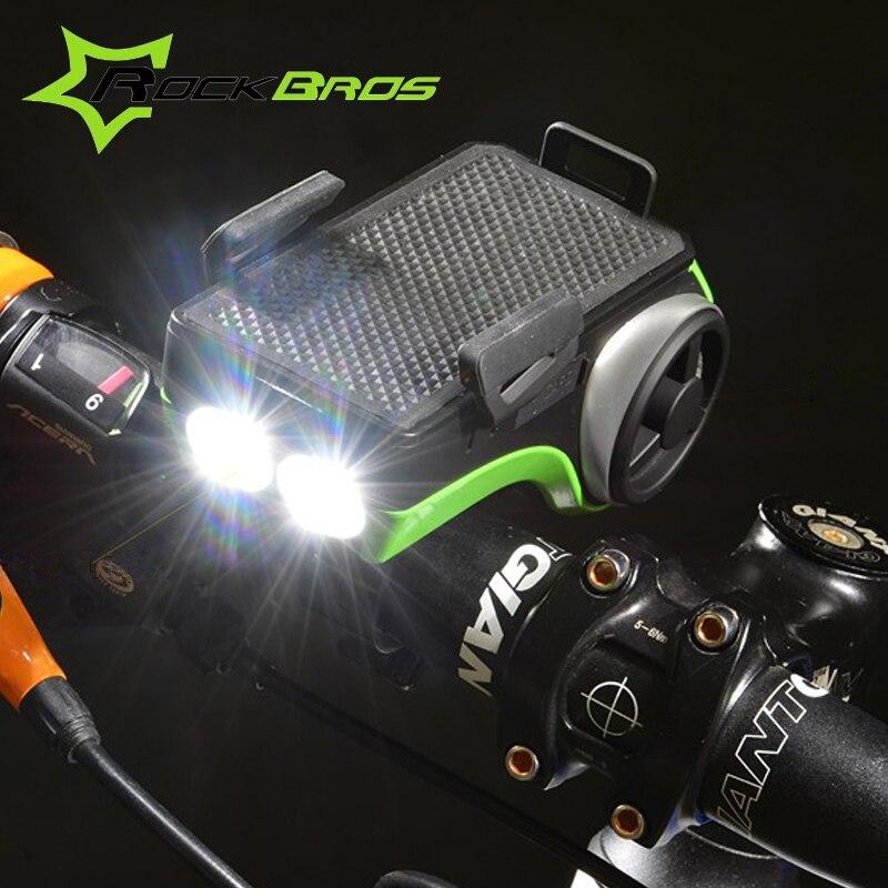 Rockbros Bike Luce di Musica Player + Bluetooth + Doppio Bicicletta HA CONDOTTO LA Luce + 4400 mah Accumulatori e caricabatterie di riserva + Speaker + Telefono porta Accessori Per Biciclette