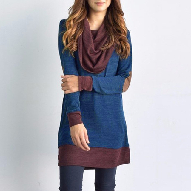Long Sleeve Patchwork Pullover Elbow Patches Cowl Neck Tops