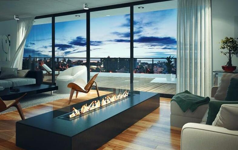 72  Inch Real Fire Intelligent Smart Automatic Contemporary Bio Ethanol Fireplace