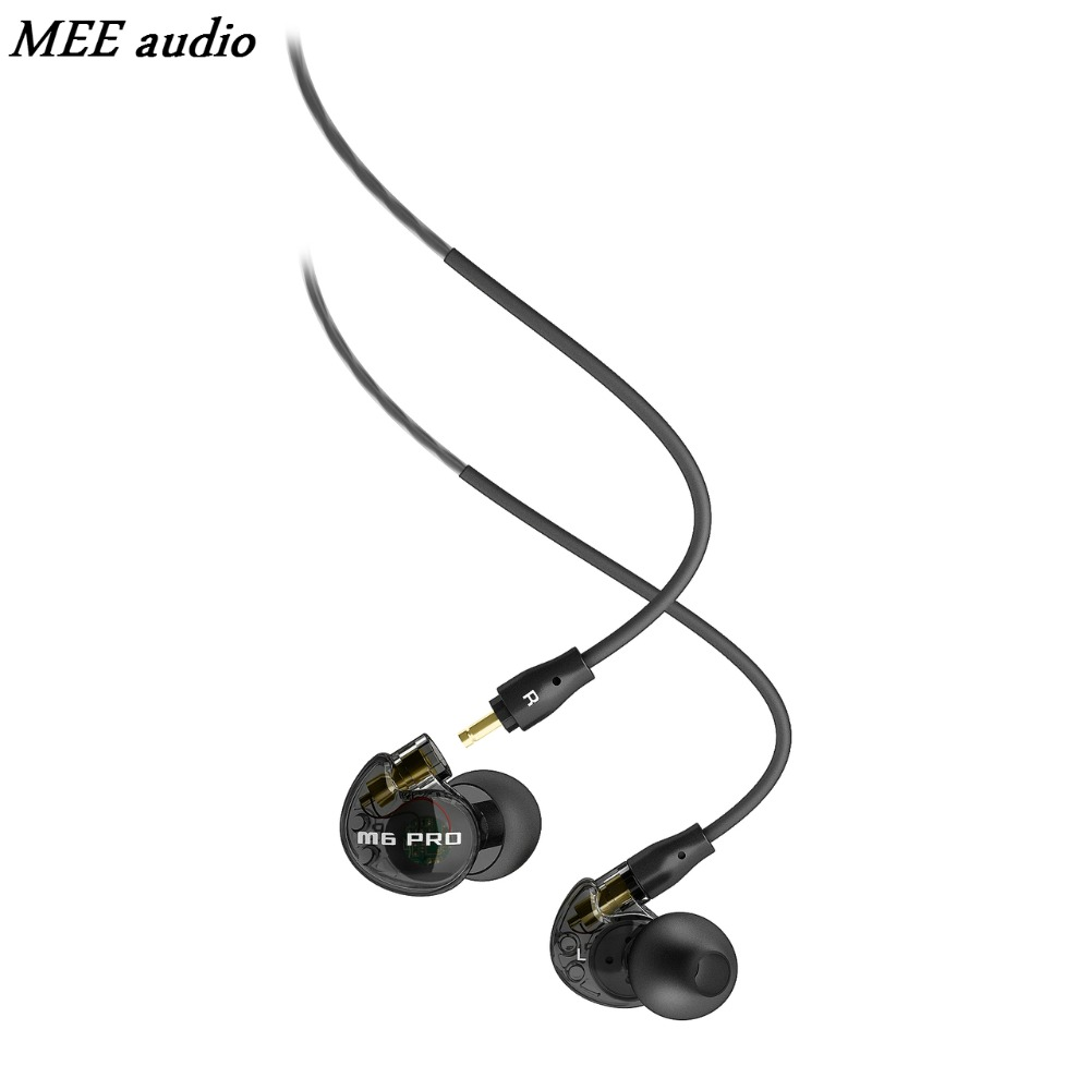 Black MEE Audio M6 PRO Noise-isolating HiFi In-Ear Headset Monitors Professional Music Headphones Earphones With Mic For Phones  dhl free 2pcs black white m6 pro universal 3 5mm wired in ear earphone noise isolating musician monitors brand new headphones