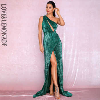 LOVE&LEMONADE Sexy One Shoulder Cut Out Green Cross Split Sequin Bodycon Maxi Dress LM81952 Autumn/Winter - DISCOUNT ITEM  10% OFF All Category