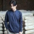La alta calidad del algodón de lino camisetas casuales de la moda masculina camisetas de manga larga camisa de cuello alto color sólido camisa C54