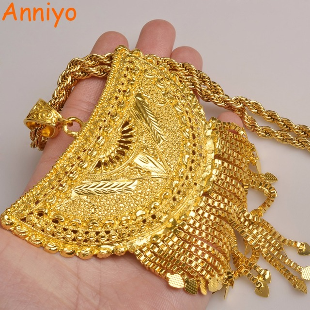 Anniyo Very Big Africa Pendant Necklaces for Women Gold Color Ethiopian/Nigeria/Congo/Sudan/Ghana/Arab Jewelry #098506