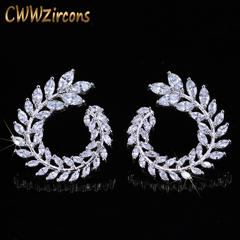 CWWZircons Sparkly Olive Branch Leaf Shape Marquise Cut Big Cubic Zirconia Stud Earrings For Women Fashion Brand Jewelry CZ363