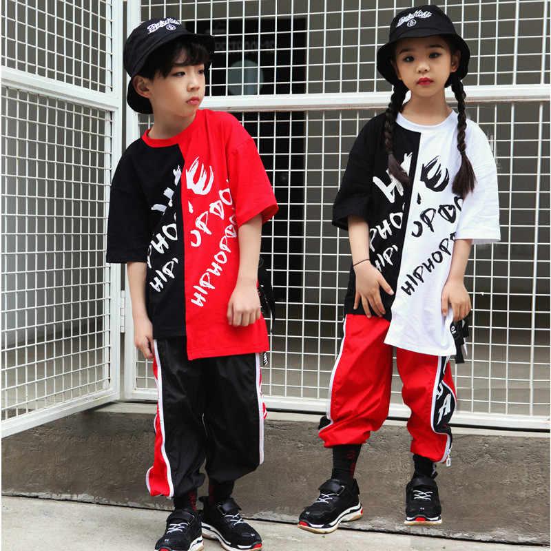 ab24bd562 Costume kids Set Summer boys Girls clothes hip hop children's clothing Jazz  Suit Street Dance Clothing