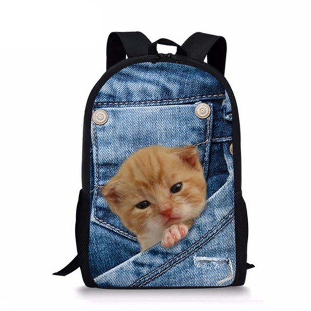 5fb398c5aa FORUDESIGNS Cut Pocket Cats Dog Printing Schoolbag For Girls,3D Denim  Animal Pattern School Bags