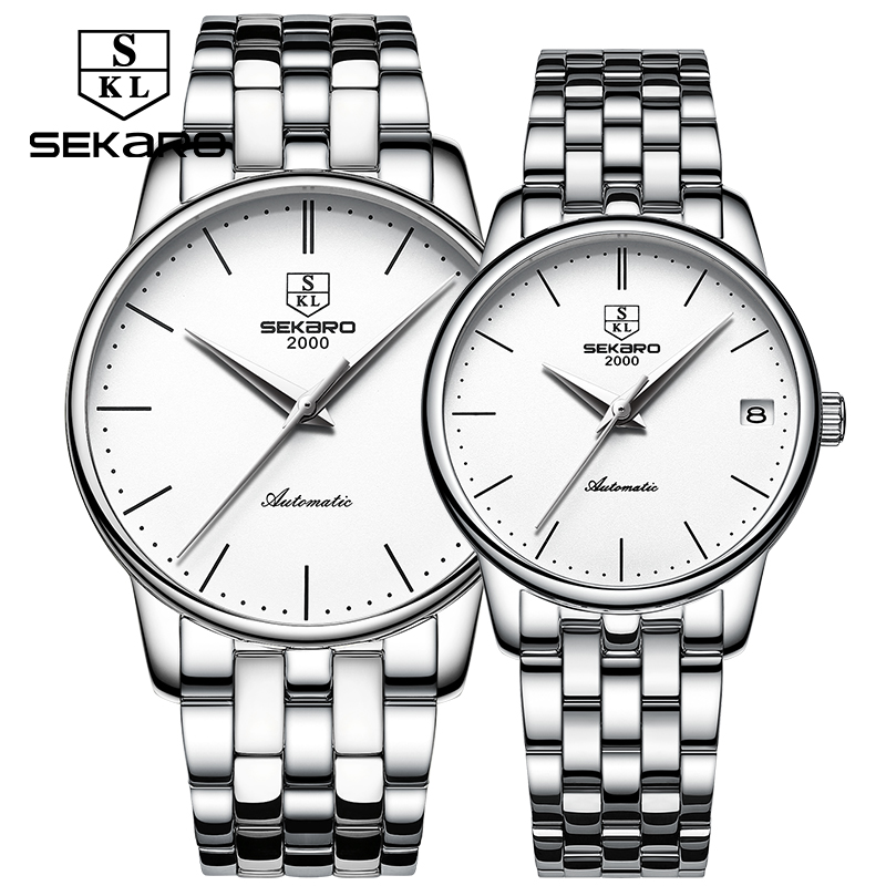 SEKARO Brand Couple Watches Men and Women Gift Automatic Mechanical Watch Genuine Fashion Trend Steel Waterproof Bracelet Table ot01 2016 trend fashion students watch led electronic watches couple watches for men and women