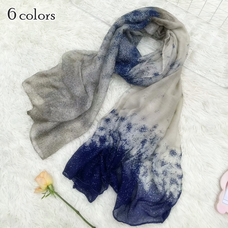 6 color Women ombre dot pattern Scarf shawl soft essential muslim hijab Shawl print echarpe Fashion scarves arab headbands