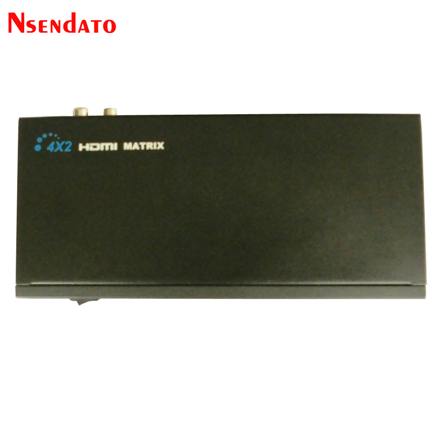 Nsendato HDMI Matrix 4x2 Splitter <font><b>Switch</b></font> Converter 4 in 2 out L/R <font><b>RCA</b></font> Audio Output Switcher Splitter with IR <font><b>Remote</b></font> image