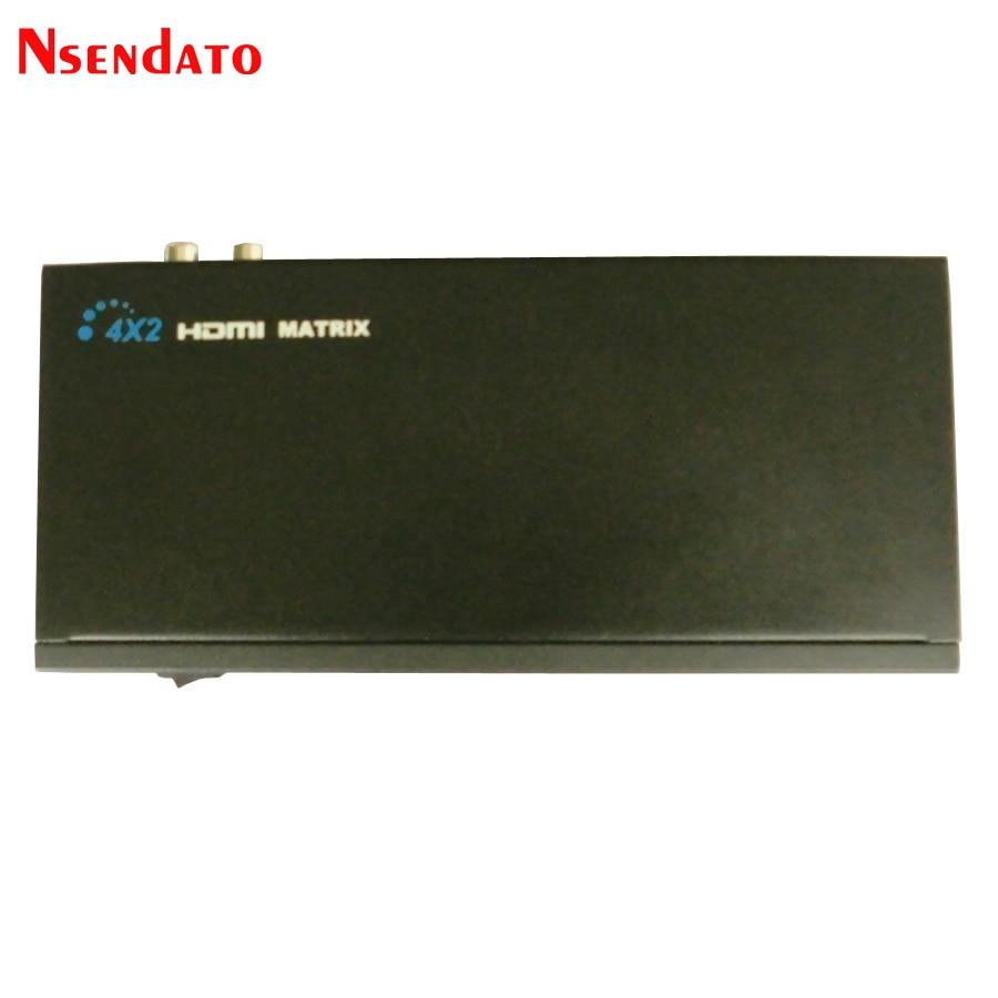 Nsendato HDMI Matrix 4x2 séparateur commutateur convertisseur 4 en 2 sortie L/R RCA sortie Audio séparateur avec télécommande IR