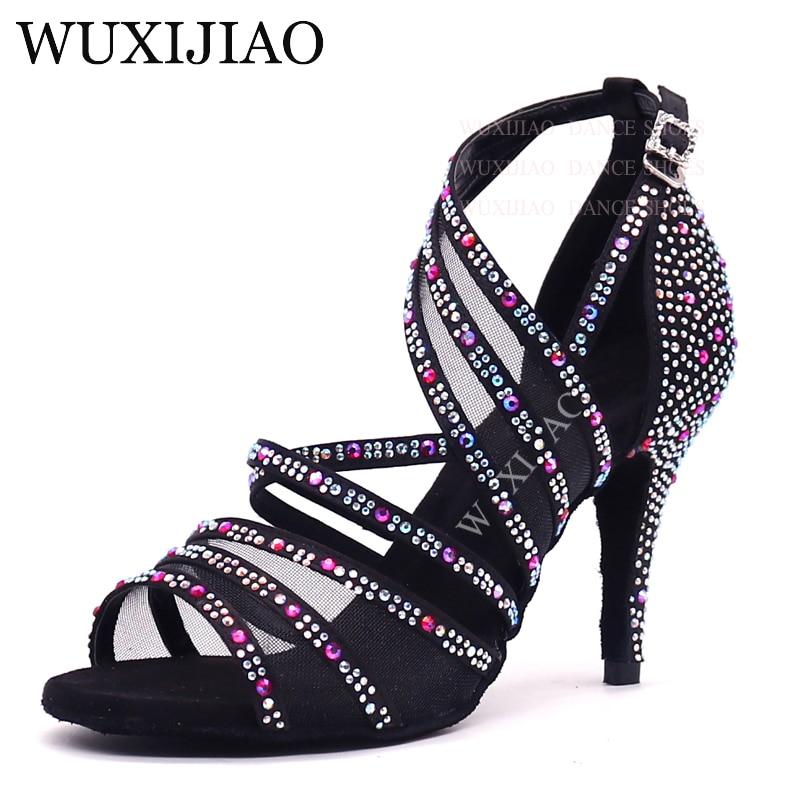 WUXIJIAO Latin Dance Shoes Women Big Small Rhinestone Salsa Party Wedding Ballroom Dancing Shoes Bronze Black